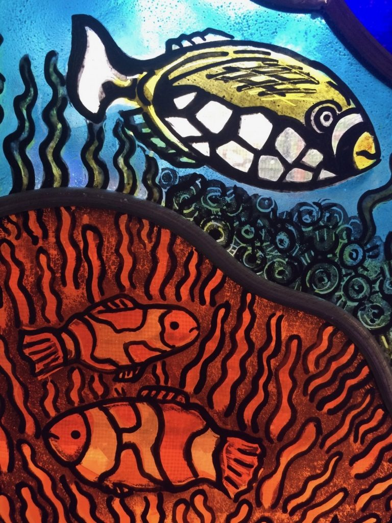 fishes stained glass window