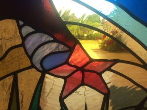 stained glass tropical sunset sidelight