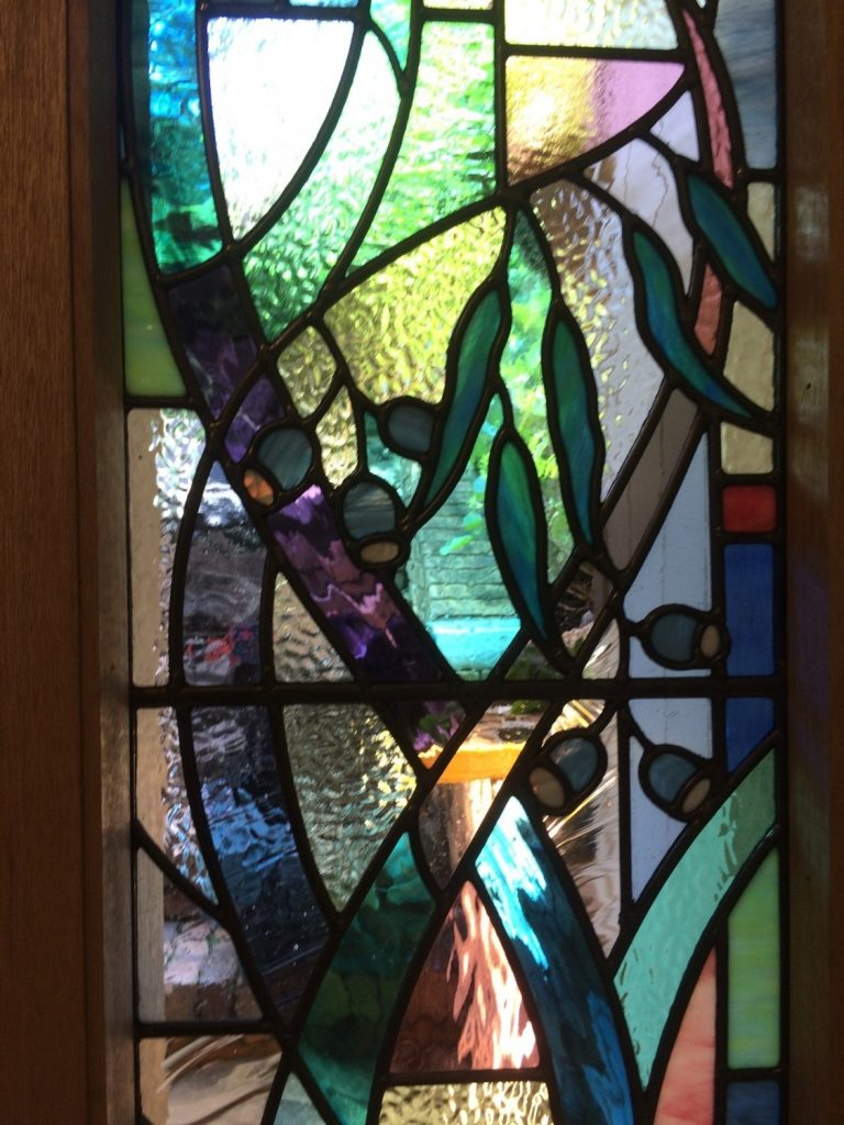 stained glass gum leaf window