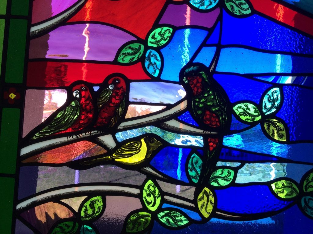 Tongan birds stained glass