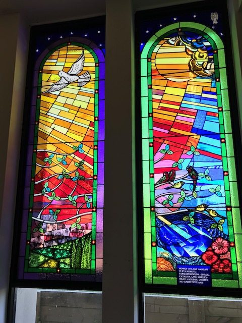 Dove and Tongan birds stained glass window